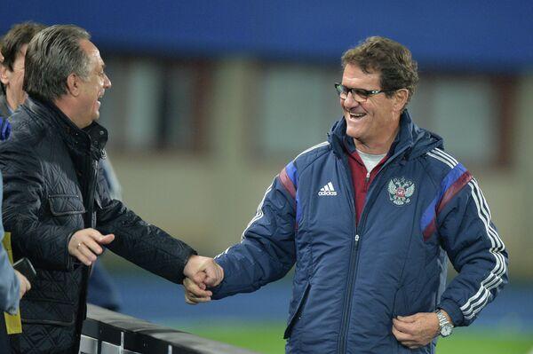 Министр спорта РФ Виталий Мутко (слева) и главный тренер сборной России по футболу Фабио Капелло