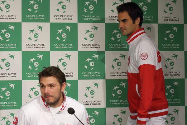 Станислас Вавринка и Роджер Федерер на пресс-конференции в преддверии финала Кубка Дэвиса