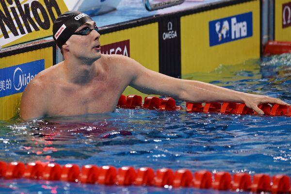 Сергей Фесиков (Россия) после заплыва на дистанцию эстафеты 4х50 м вольным стилем