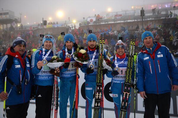 Александр Касперович, Тимофей Лапшин, Дмитрий Малышко, Антон Шипулин, Евгений Гараничев (слева направо)