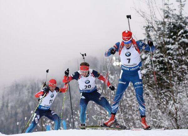 Слева направо: Евгений Гараничев (Россия), Тимофей Лапшин (Россия), Ондржей Моравец (Чехия)
