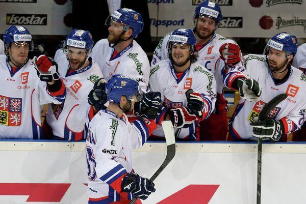 Форвард сборной Чехии по хоккею Владимир Свачина в матче Еврохоккейтура Чехия - Россия.