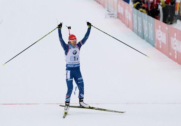 Вероника Виткова (Чехия) на финише эстафеты