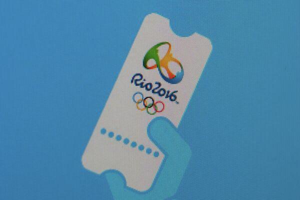 Логотип старта продаж билетов на Олимпийские игры 2016 года в Рио-де-Жанейро