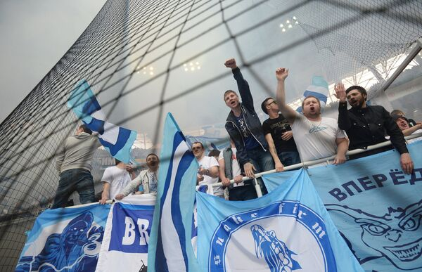 Болельщики Зенита на матче 26-го тура чемпионата России по футболу
