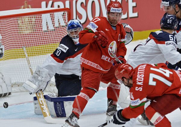 Игровой момент матча Белоруссия - Словакия