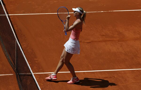Мария Шарапова на теннисном турнире в Мадриде