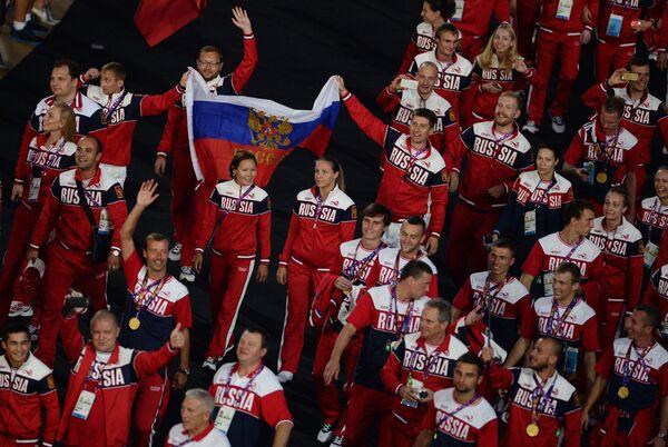 Представители сборной России во время парада атлетов и членов национальных делегаций на церемонии закрытия I Европейских игр в Баку