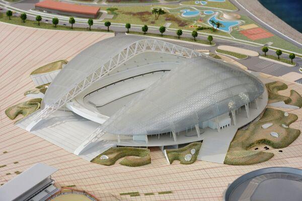 Макет олимпийского стадиона Фишт в Олимпийском парке в Сочи