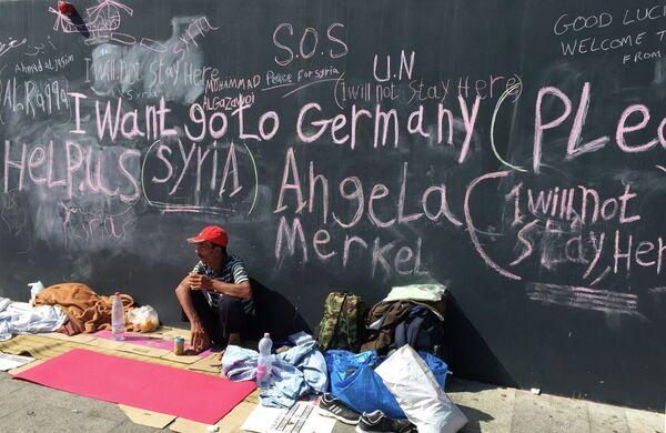 Беженцы с Ближнего Востока на вокзале Келети в Будапеште