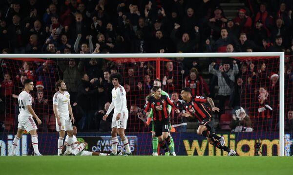 Момент гола ФК Борнмут в матче этой команда с Манчестер Юнайтед