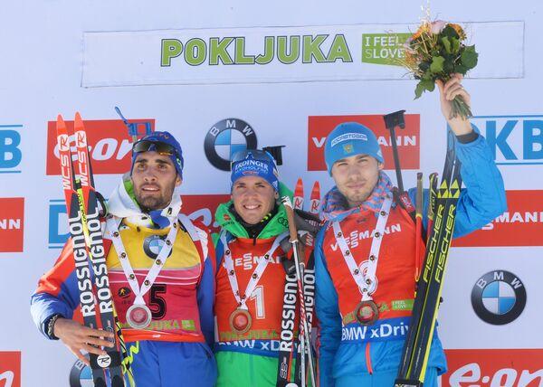 Мартен Фуркад, Симон Шемпп и Антон Шипулин (слева направо)