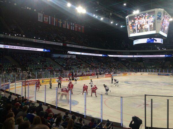 Игровой момент матча МЧМ Словакия - Россия