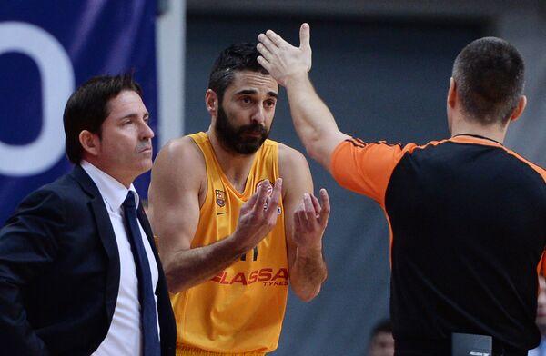 Главный тренер БК Барселона Хавьер Паскуаль и защитник БК Барселона Хуан Карлос Наварро (слева направо)