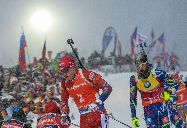 Тарьей Бё (Норвегия) и Мартен Фуркад (Франция) (слева направо)