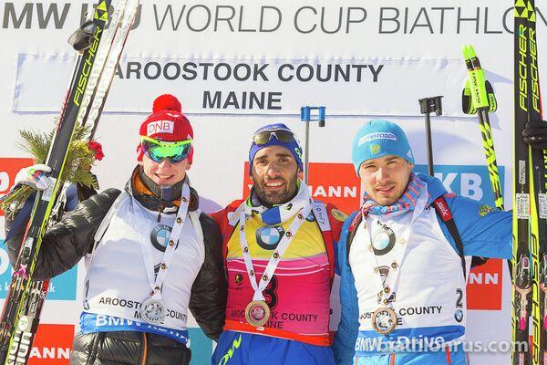 Йоханнес Бё, Мартен Фуркад и Антон Шипулин (слева направо)