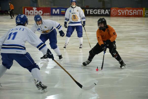 Игровой момент матча ЧМ по хоккею с мячом между командами Эстонии и Нидерландов