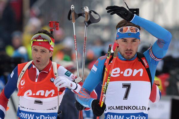 Уле-Эйнар Бьерндален (Норвегия) и Антон Шипулин (Россия) (слева направо)