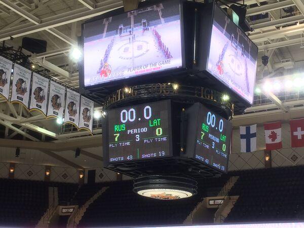 Медиа-куб на матче чемпионата мира по хоккею среди юниоров между сборными России и Латвии