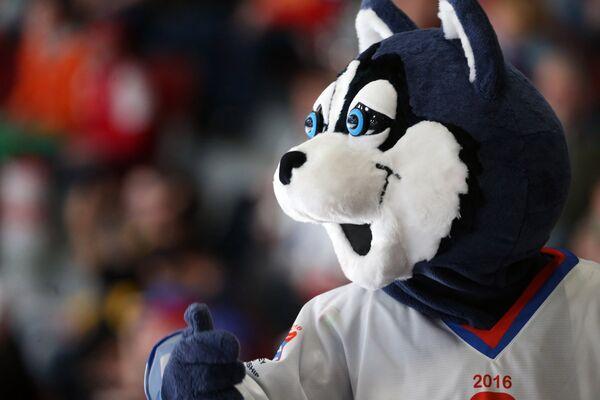 Талисман во время матча группового этапа чемпионата мира по хоккею между сборными командами Белоруссии и США.