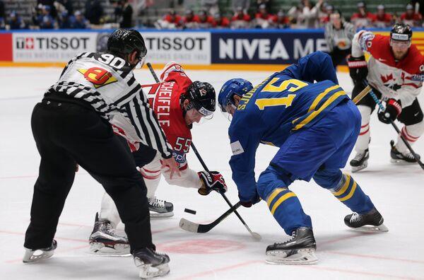 Нападающий сборной Канады Марк Шайфли и форвард сборной Швеции Маттиас Шёгрен (справа)