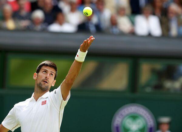 Новак Джокович на Уимблдонском теннисном турнире