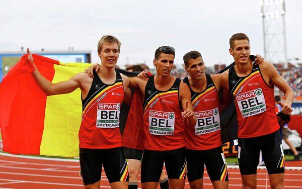 Спринтеры бельгийской сборной на чемпионате Европы в Амстердаме